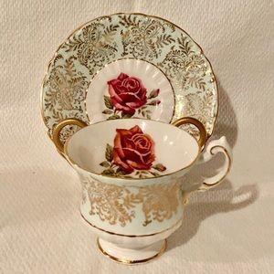 Paragon Mint Gold Filigree Teacup Saucer Rose